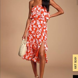 Red floral strapless midi lulu's dress